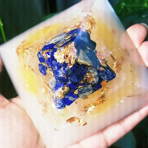 Lapis Lazuli,  Clear Quartz, Orange Calcite