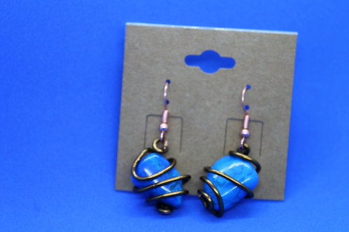 Blue Howlite Chocolate Wire Earrings