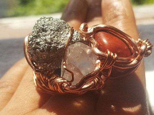 Pyrite, Quartz, Red Jasper Power Ring