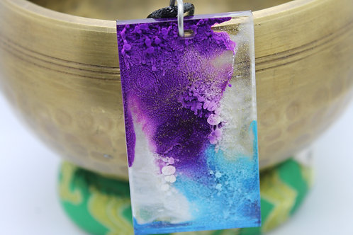 Purple, Blue, White Ink Splash Pendant