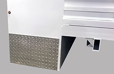 Treaded plate front wall splash guards for protection