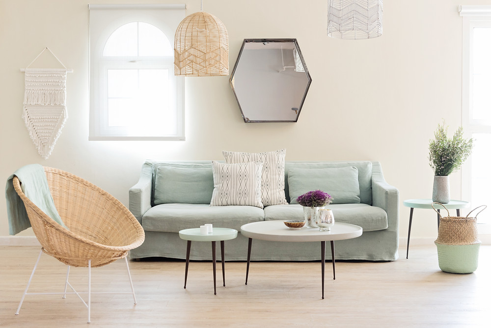 White Moss : Bali Bowl Chair | Phoenix Macrame Wall Hanging | Chevron Rattan Pendant | Belly basket – Hint of Mint and coffee tables and two seater canapé from Home and Soul