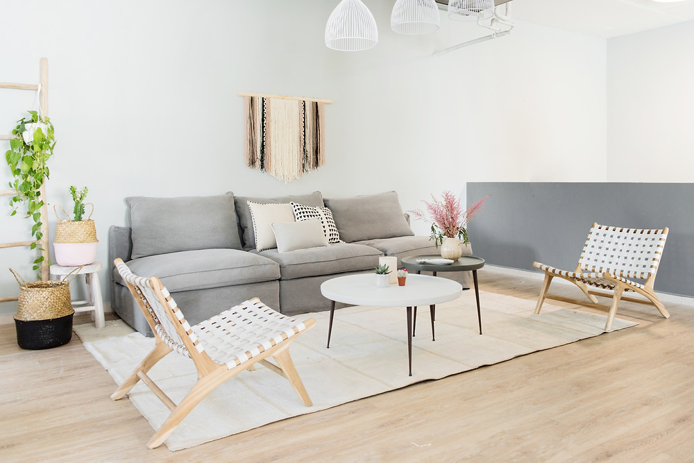 White Moss – Bali Statement Lounger |  Belly Basket – Hint of Blush & Black | Dusty Rose Statement Wall Hanging | Love-struck Mudcloth cushion. - Three grey seater canapé, coffee tables and carpet from Home & Soul