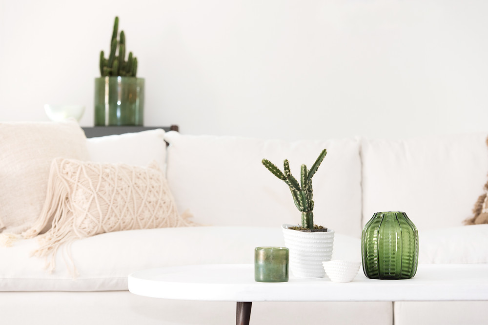 White sofa and accesories from Home and Soul
