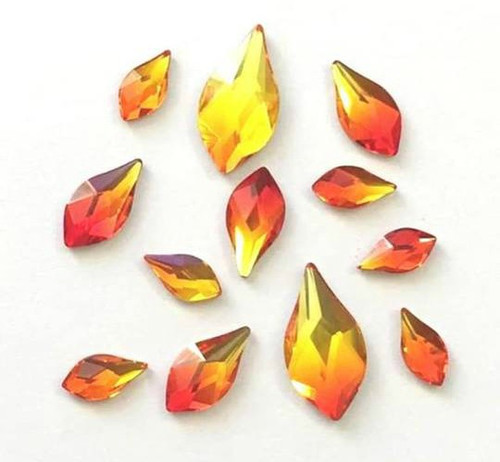 b7bde14cc Mixed Pack of 12pc Swarovski Flatback Flame Crystals, FIREOPAL, Size  7.5mm/10m