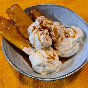 Spiced and caramelised Pineapple with Swedish Glace