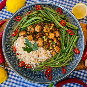 Smoked Tofu, Lentil and corn Tabbouleh