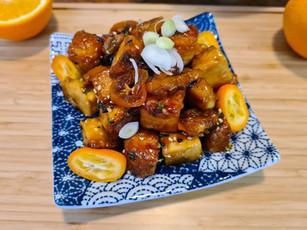 Sticky Kumquat and Orange Tofu