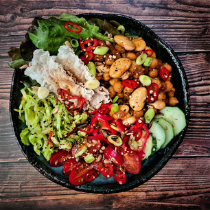 """Spicy """"3G2 Chickpeas and Beans, Crispy Salads and Rice Paper Bacon"""