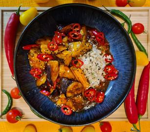 Crispy Aubergine in Gochujang Sauce