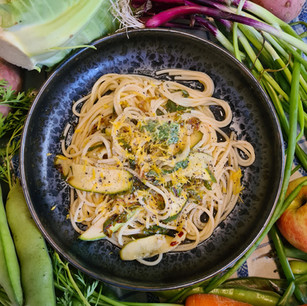 Courgette and Kohlrabi Leaf Pasta
