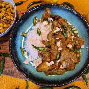 Aubergine, Mushroom, Peanut & Coconut Curry