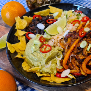 Taco Bowl with Pulled Eryngii, Pineapple Salsa and Black Beans