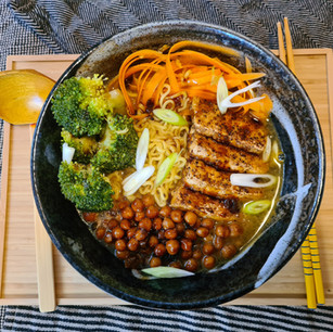 Ramen with Garlic Pepper Tofu and General Tso baked Chickpeas