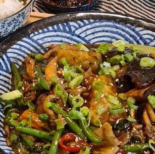Spicy Pepper Aubergine, Beans and Mushrooms