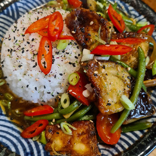 Crispy Aubergine with Green Beans, Ginger and Garlic
