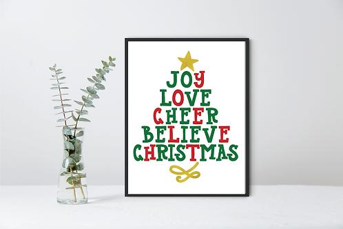 CHRISTMAS WORD TREE WALL DECOR