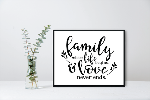 WALL DECOR FAMILY WHERE LIFE BEGINS