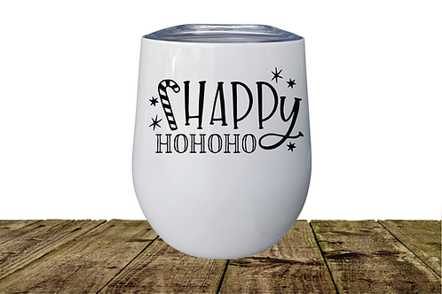 HAPPY HO HO STEMLESS WINE GLASS
