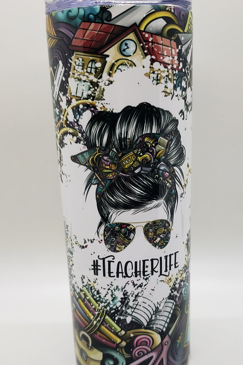 TEACHER LIFE FULL COLOR SKINNY TUMBLER