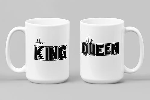 HER KING/ HIS QUEEN, SET OF 2 MUGS