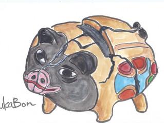 "YUKABON 5minutes drawing ""yukabon's correction Pig's money box"""