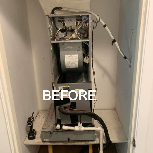 Before picture of an AC unit