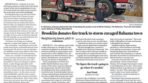Brooklin donated fire truck to storm-ravaged Bahama town.