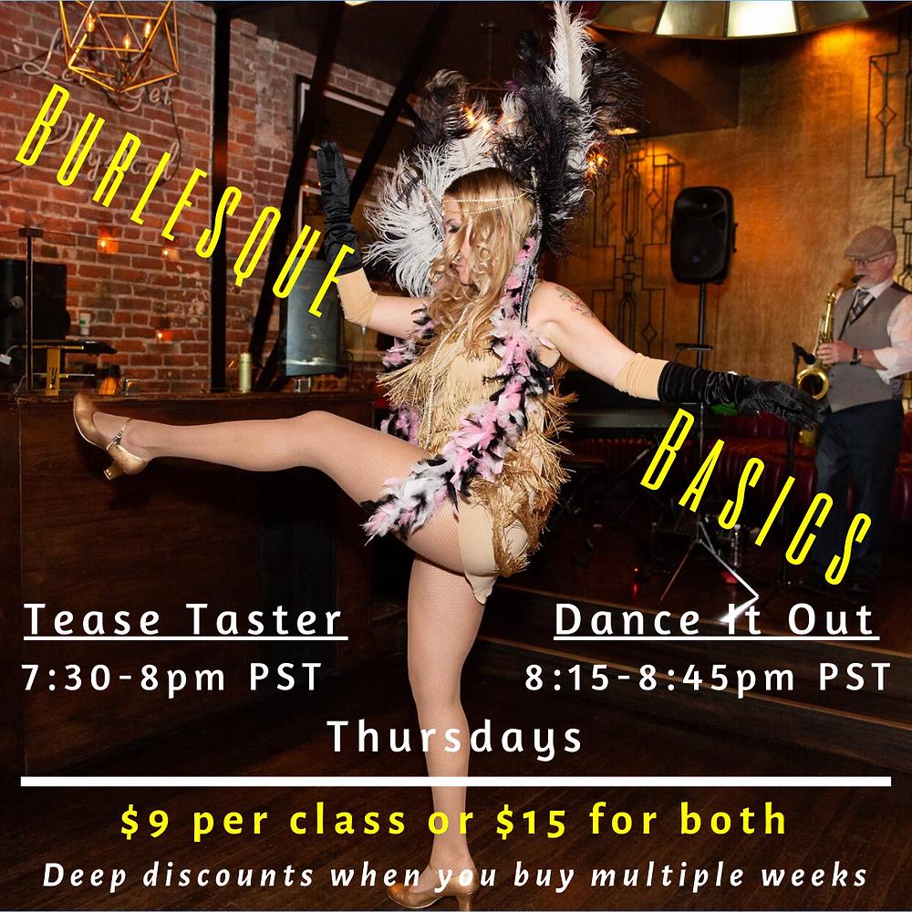 Burlesque Basics Online Dance Class Showgirl Cabaret