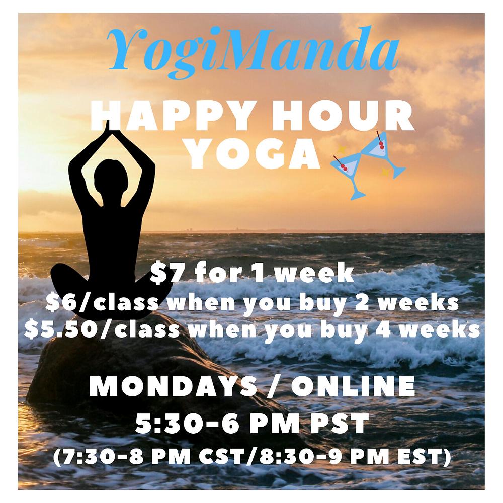 Happy Hour Yoga: Stretch & Sip Online Yoga Stretching Class