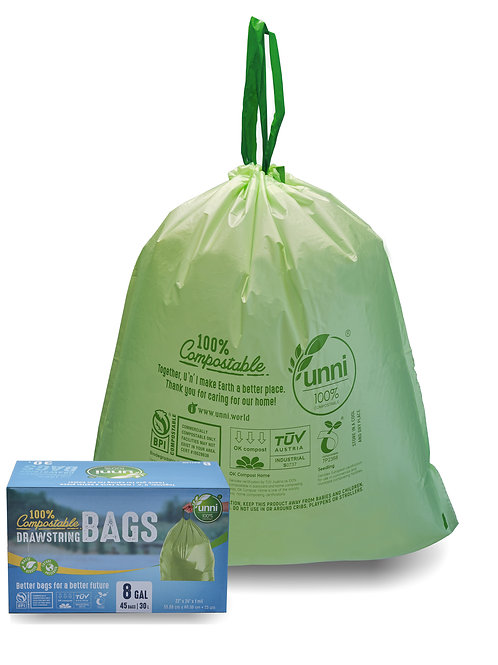 Compostable Drawstring Trash Bags, 6-8 Gallon, 23-30 Liter