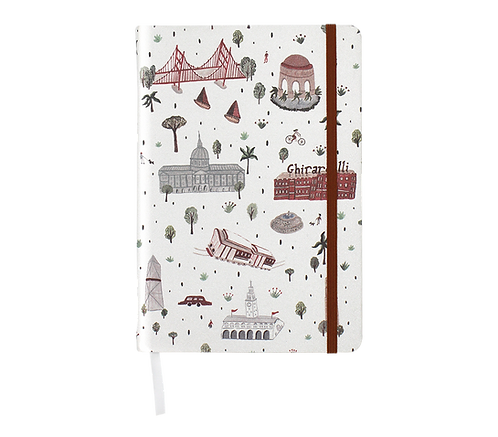 Hard Cover Notebook - Linen Fabric - San Francisco