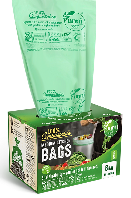 8 Gallon Compostable Medium Garbage Bags