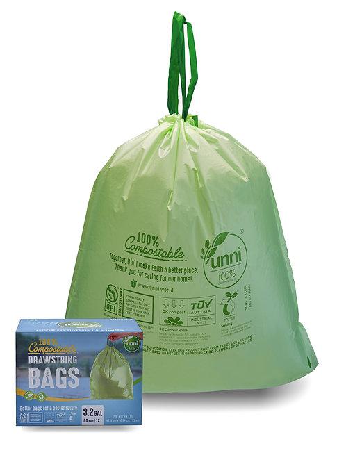 Compostable Drawstring Trash Bags, 2.6-3.2 Gallon, 10-12 Liter