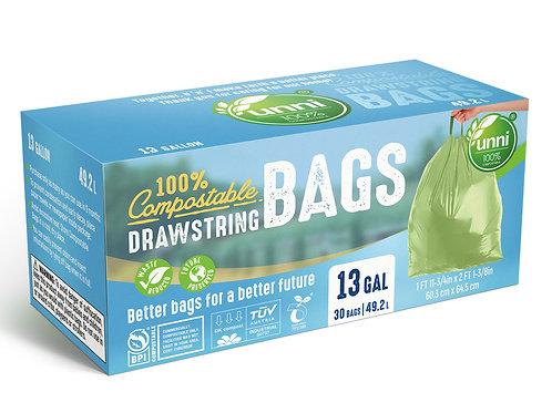 UNNI Compostable Tall Kitchen Drawstring Trash Bags, 13 Gallon