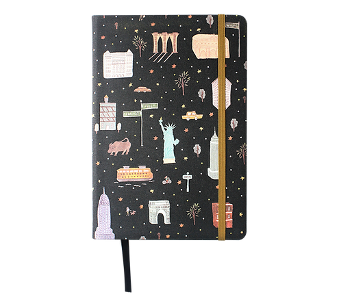 Hard Cover Notebook - Linen Fabric - New York