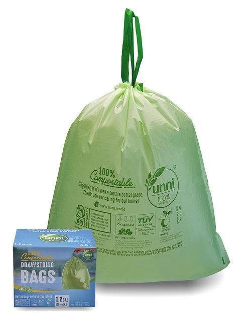 Compostable Drawstring Trash Bags, 1.2 Gallon, 4.5 Liter