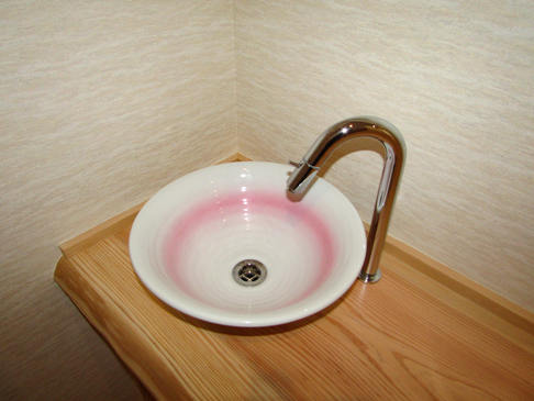 グースネックのシンプルな水栓金具を採用