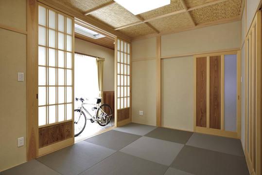 内障子の外側が通り土間になっている和室。