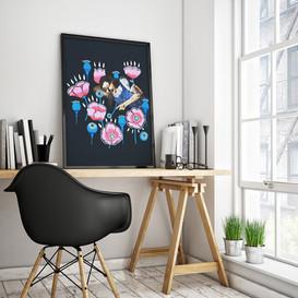 Poster in studio. Poppy (& Vallmo in Swedish)