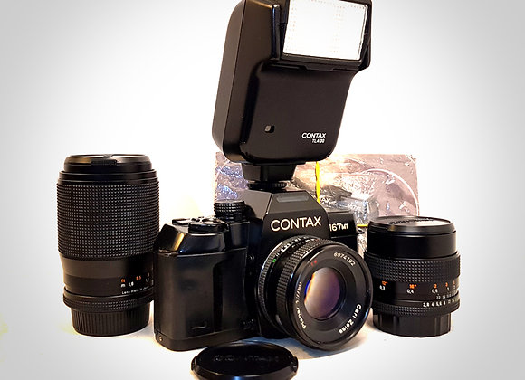 CONTAX 167MT WITH 3 CARL ZEISS LENSES. EXC++