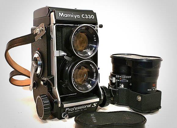 MAMIYA C330 PROFESSIONAL WITH 80MM F2.8 & 180MM F4.5 LENSES. EXC+++