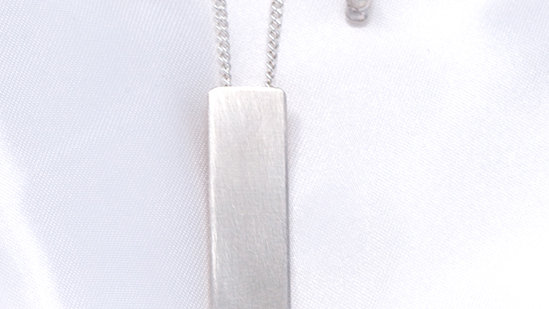 Rectangular pendant with ball detail with matching earrings