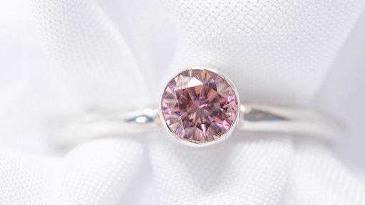 Swarovski cut pink zircon tube set ring