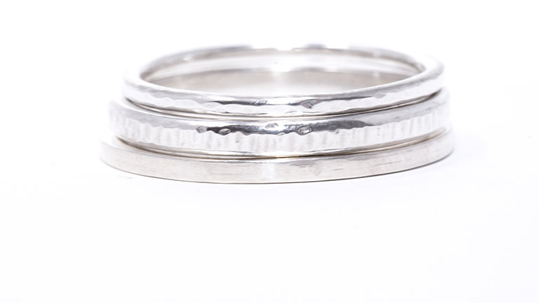 Set of 3 sterling silver stacker rings