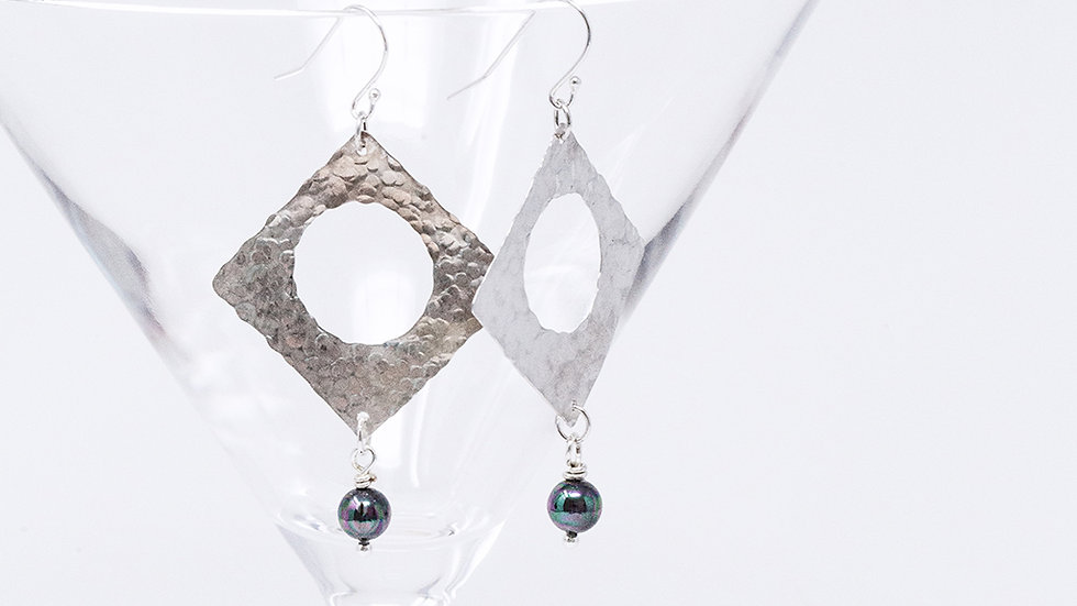 Silver square textured earrings with shell pearl drop