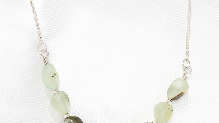 Prehnite necklace with sterling silver chain