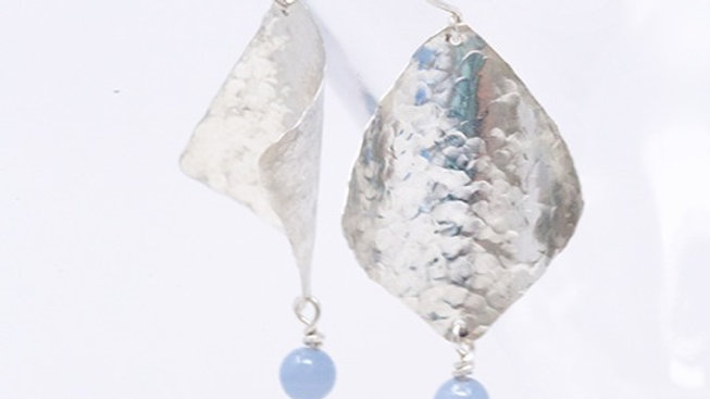 Sterling silver textured square earrings with Angelite stone
