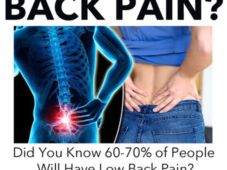 DID YOU KNOW THAT 60-70% OF PEOPLE WILL HAVE LOW BACK PAIN - DO YOU?