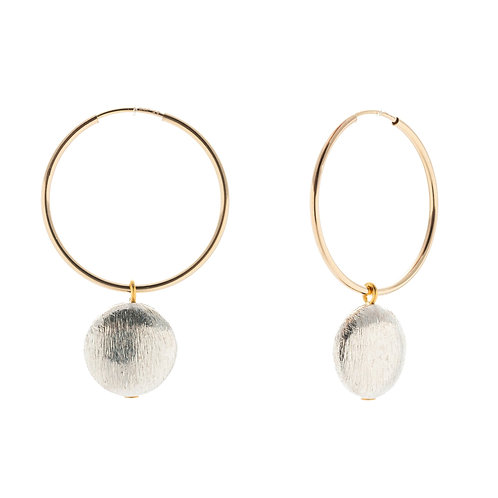 Crescent Hoop Earrings - Flat circle charm